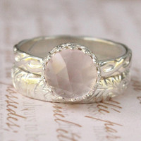 Rose quartz ring set of 2, sterling silver, 8 mm rose cut gem,  floral bands, princess ring, light pink, engagement, wedding, promise ring