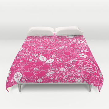 Botanical Beauties Hot Pink Duvet Cover by MargaretNewcombArt