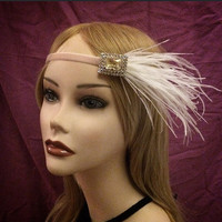 Feather flapper 20s style head piece headpiece band 1920's gatsby white pink yellow rhinestone crystal velvet adjustable 20s 1920s art deco