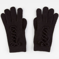 Lace Up Gloves Black One Size For Women 22374610001