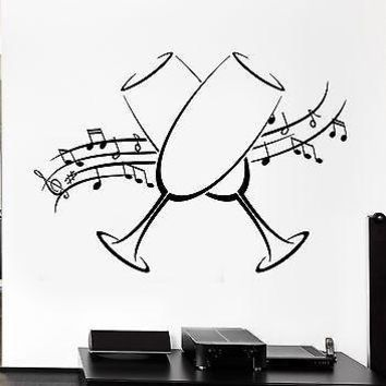 Wall Decal Glasses Holiday Music Notes Kitchen Decor Vinyl Stickers Art Unique Gift (ig2561)