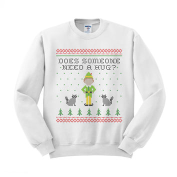 Elf Someone Needs a Hug Crewneck Sweatshirt