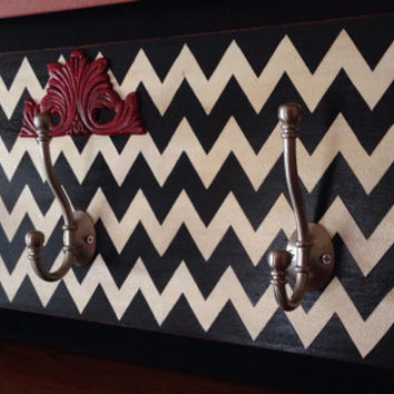 Hand Painted Coat Hanger Chevron Pattern
