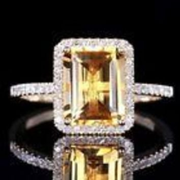 Woman's Emerald Cut Citrine Ring - Free Shipping