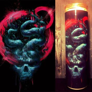 Skull Decor, Mystic, Boyfriend Gift, Man Candle, Dark Decor, Unique Gift, prayer candle, Gift Idea, Gifts for Him, Best Scented Candles,