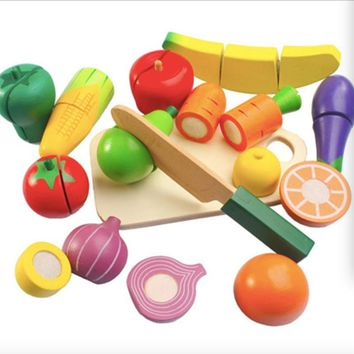 15 Pcs/Set Wooden Fruit Vegetables Cutting Toy Early Development and Education Toy for Baby Play miniature Food
