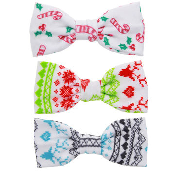 """9pcs. 4"""" BoutiqueCotton Christmas Hair Bow With Clip For Baby Girls Christmas Gift For Kids Girls Hair Accessories"""