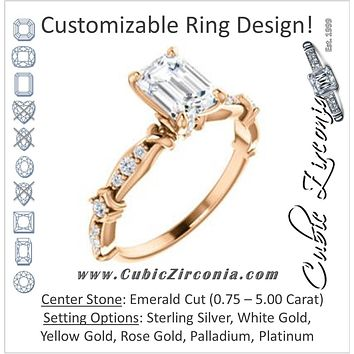 Cubic Zirconia Engagement Ring- The Willow (Customizable Emerald Cut Artisan Design with 3 Kinds of Round Cut Accents)
