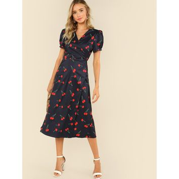 Multicolor V-Neck Cherry Print Wrap Dress