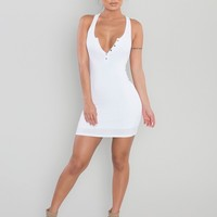Ribbed Button-Up Racerback Dress - White