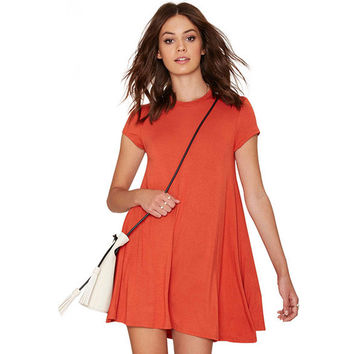 Short Sleeves Loose A-Line Mini Dress