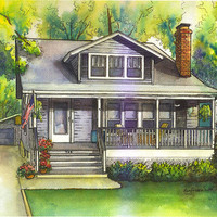 House Portrait in Watercolor by maryfrancessmith on Etsy