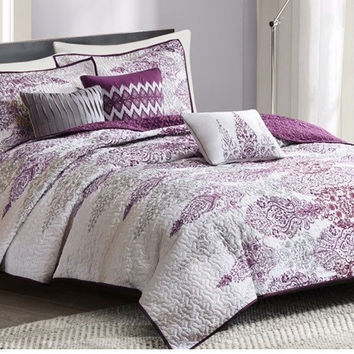 Carmen Purple Medallion Bohemian Coverlet Set
