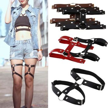 Female Popular Sexy Harajuku Style PU Leather Garter Belt Punk Leather Garters Leg Ring Harness Gifts One Free Adjustable Size