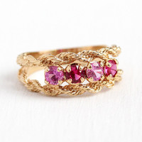 Retro Ring Band - 14k Rosy Yellow Gold Created Pink Sapphire & Ruby Statement - 1960s Vintage Size 8 3/4 Four Stone Rope Design Fine Jewelry