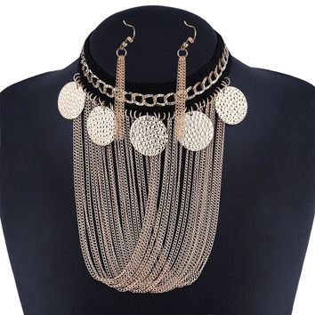 Goth choker  big statement necklace For Women tassel chain necklace set Vintage  fashion choker african jewelry
