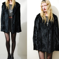 70s Vintage BLACK VELVET Jacket Swing Coat Goth Gypsy Hippie vtg 1970s M