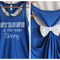 Blue Strong is the New Skinny Bow Tank Top