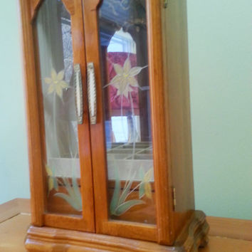 Vintage Lighted Jewelry Armoire Glass Doors Mirror Keepsake Chest Oak Finish