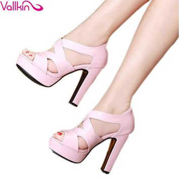 VALLKIN 2017 Sexy Peep Toe White Gladiator Summer Women Shoes Thick High Heel Woman Pu