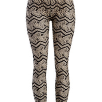 Back to the Gypsy Floral Chevron Lace Leggings