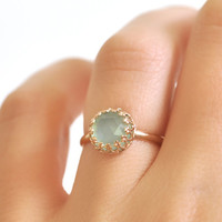 14k Gold Ring- Aqua Chalcedony Ring- Crown Bezel Ring- Alternative Engagement Ring- Blue Chalcedony Ring- Dainty Ring- Blue Gemstone Ring