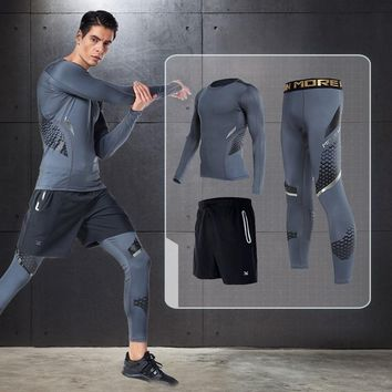 Vansydical Men's sports fitness Long Sleeve Shirts and Tight Pants Training Basketball Suits Compression joggers Running Sets