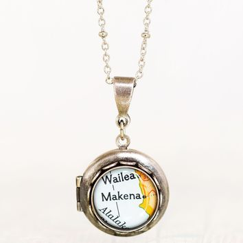 Classic Map Name Locket, Petite Antiqued Silver, Style No. 1S, Bespoke Collection
