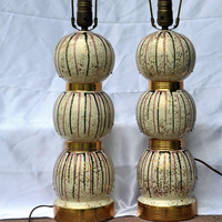 Mid Century Lamps - Drip Glaze Pottery Gold Banded Triple Sphere Shape - Black Mauve Gold Flecked - Matching Pair Table Lamps