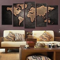 5 Panels Large Vintage World Map Modern Design Oil Painting Creative HD Print Canvas Beautiful Wall Decoration Living Room Decor