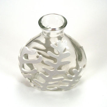 White Clay Seaweed Inspired Glass Vase - Frond / Papercut, Leaf, Sea, Ocean, Home Decor, Bud Vase