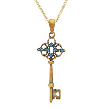 """Antique Sterling Silver Gold Plated Zirconia Key Charm Pendant on 18"""" Mineral Stone Necklace"""