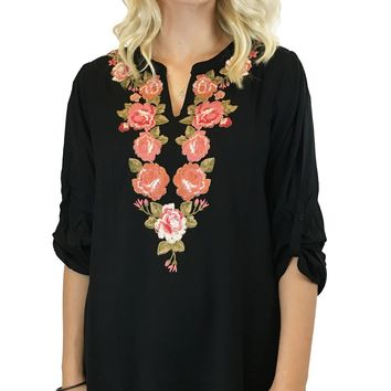 Andree by Unit Embroidered Split Neck 3/4 Sleeve Top Black