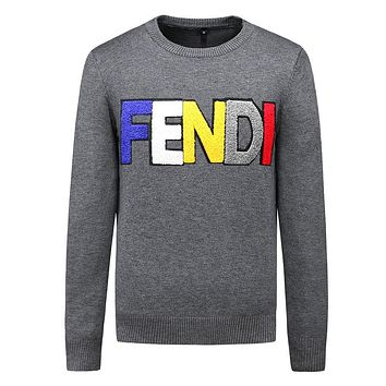 Supreme 2018 street fashion new magic embroidery letters men's warm knitted sweater Grey