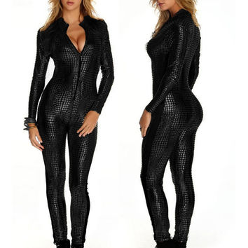 Black Gold  Womens Faux Leather Wet Look PVC Catsuit LSexy Vinyl Leather Jumpsuit  Hot Sale Gold Sexy Leather Bodysuit W207980