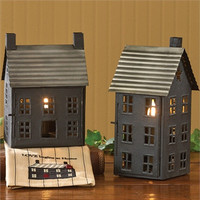Primitive, Small Tin Saltbox House Lamp