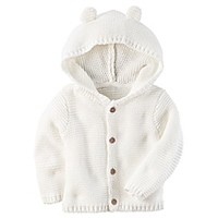 carter's® Button-Front Sweater Jacket with Hood