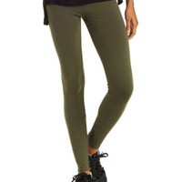 Olive Solid Stretch Cotton Leggings by Charlotte Russe
