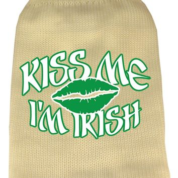 Kiss Me Im Irish Screen Print Knit Pet Sweater Xl Cream