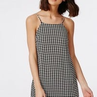 Missguided - Crepe Cami Dress Monochrome Dogtooth