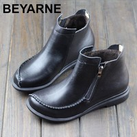 BEYARNE  Women's Boots Winter Shoes Short Plush 100% Genuine Leather Woman Ankle Boots Rubber Sole Blue/Grey Winter Boots Shoes
