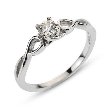Infinity- Engagement Ring 14k White Gold And Diamond Ring, Infinity Ring, , Art nouveau, filigree