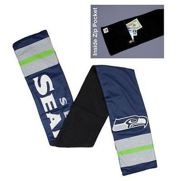 Seattle Seahawks NFL Licensed Fleece-Lined Jersey Scarf FREE US SHIPPING