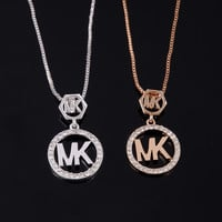 Stylish Shiny Christmas Gift Jewelry New Arrival Alloy Accessory Simple Design Diamonds Alphabet Necklace [8573610125]