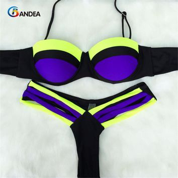 BANDEA Summer style New Sexy Neon Push Up Swimwear Brazilian bikini Patchwork Swimsuit Women Biquinis Bathing Suits HA816