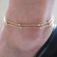 Cute Gold Double Chain Anklet Bracelet Ankle = 4806885380