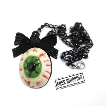 Eyeball necklace - psychobilly creepy eyeball jewelry evil eye necklace zombie eye - psychobilly jewelry horror jewelry pastel goth necklace