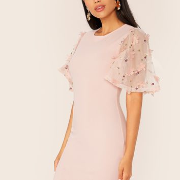 Embroidery Appliques Mesh Sleeve Pink Pencil Dress