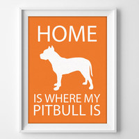 "8x10"" Pitbull Wall Art, Illustrated Dog Art, Pitbull Decor, Dog Breed Wall Art, Minimalist Pet Art, Puppy Wall Art Print, Pitbull Gift"