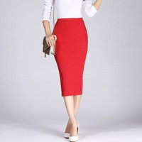 Long Pencil Slim Skirt